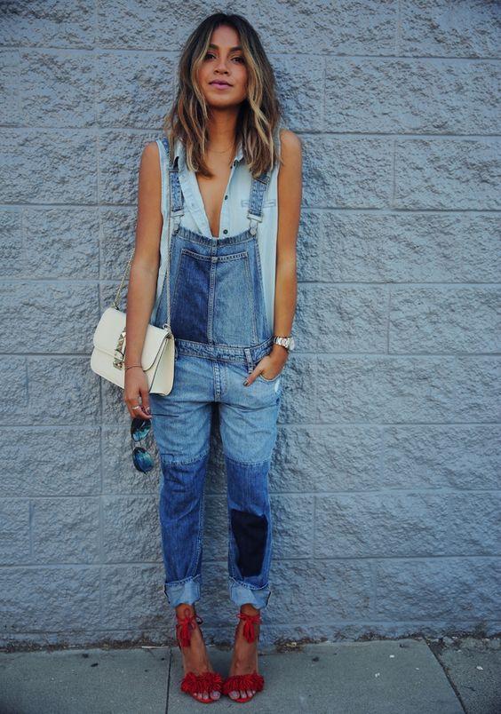 длинный летний джинсовый ромпер