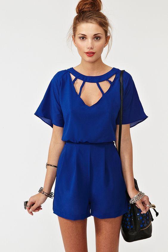 синий летний комбинезон для девушек фото