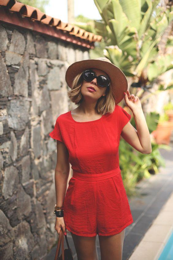 красный летний комбинезон фото