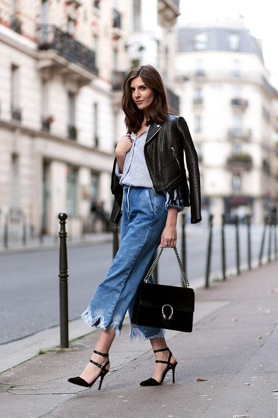 красивые женские штаны кюлоты из денима с косухой и сумкой