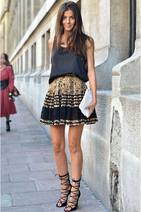 летняя юбка в складку черный верх