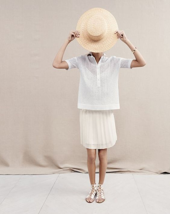 с чем носить белую юбку плиссе фото