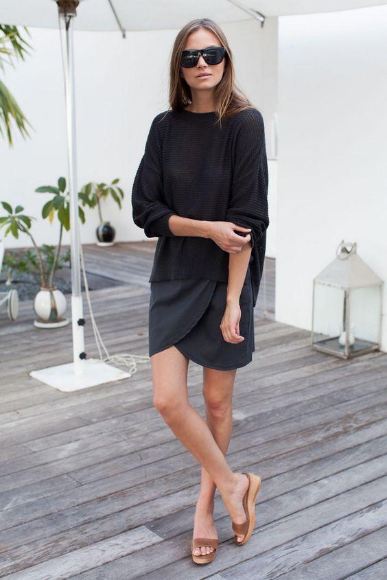 черная юбка тюльпан фото лук