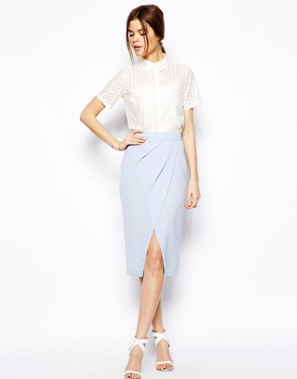 стильная юбка тюльпан с запахом мода 2017