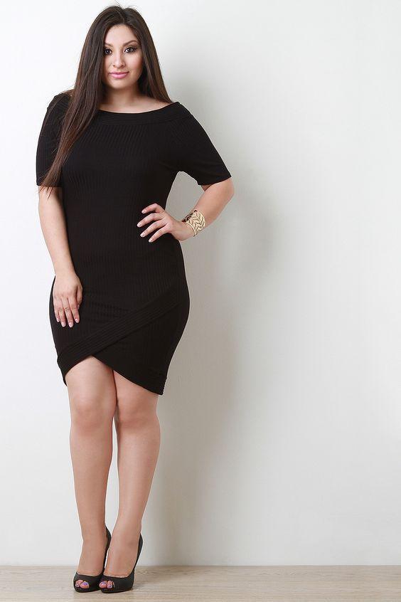 черное платье с юбкой тюльпан плюс сайз